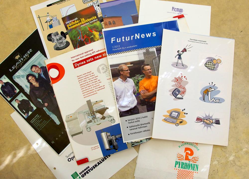 Saimme tehdä myös esitteitä, logoja asikaslehtiä ja monia muita painotuotteita