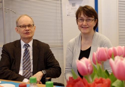 Kustannus Oy Duodecimin kirjapalaverissamme LKT, prof. Heikki Ruskoaho ja kustannustoimittaja Iiris Penttilä