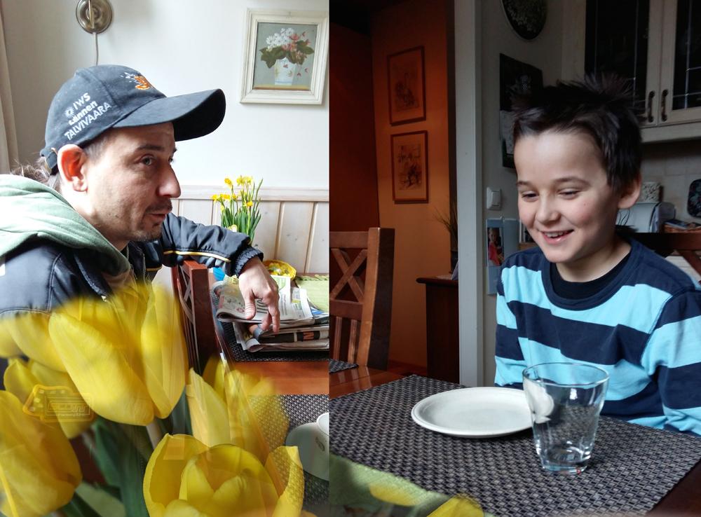 Pääsiäisvieraita: poikamme ja lapsenlapsi