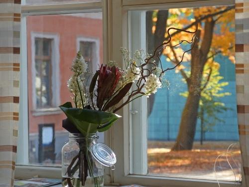 Huvilan kahvilan ikkunasta